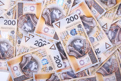 Background made of 200 pln banknotes Stock Photo