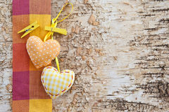 Background made from birchwood with hearts Royalty Free Stock Images
