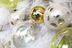 Background made of christmas balls and tinsel Stock Images