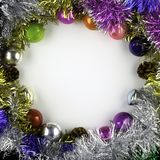 Background made of christmas balls and tinsel royalty free stock photography