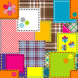Background made of colored sewed patches Stock Image
