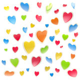 Background made of colorful hearts isolated. Background made of colorful glossy hearts isolated on white Stock Illustration