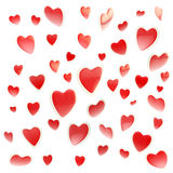 Background made of colorful hearts isolated. Background made of red glossy hearts isolated on white Stock Illustration