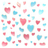 Background made of colorful hearts isolated. Background made of colorful pink and blue glossy hearts isolated on white Royalty Free Illustration