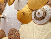 Background made from colorful paper umbrellas Stock Images