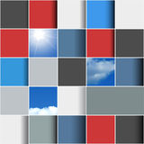 Background made of colorful squares. Abstract background made of colorful squares with sun and clouds. Template for infographics Stock Photo