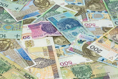 Background made of different polish zloty banknotes Stock Photography