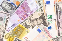 Background made from euro and dollar banknotes. High resolution photo Stock Photo