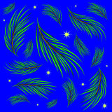 Background made of fir branches and stars. Stock Image