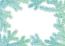 Background made of fir branches. Vector frame from Christmas tree branch for decorate. Black lush branch of spruce with the two si. Background made of fir Stock Photos