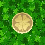 Background made from green leaves with a coin. A symbol of spring Royalty Free Stock Photos