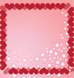 The background made from the hearts. The frame made from the hearts on the pink background Royalty Free Stock Images