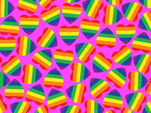 A lot hearts with gay pride flag inside on pink.Ba Stock Image