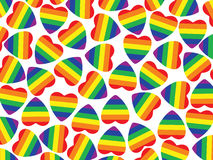 A lot hearts with gay pride flag inside on white.Background. Stock Image