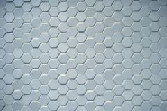 Hexagonal ceramic blue tiles. Background made from light blue gray hexagonal ceramic tiles on a wall or floor Royalty Free Stock Images