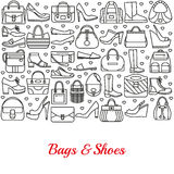 Background made of line icons. Bags and shoes Stock Image