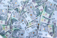 Background made of polish 100 pln banknotes Stock Images