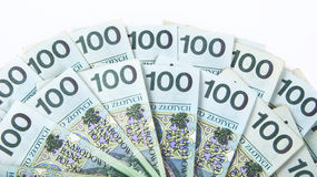 Background made of polish 100 pln banknotes Royalty Free Stock Photo
