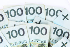 Background made of polish 100 zloty Stock Images