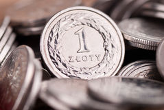 Background made of  Polish one Zloty coins Stock Photography