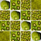 Background made of square shapes full of kiwi textures. Background made of identical square shapes full of kiwi textures: one peeled kiwi, kiwi slices, pieces royalty free stock images
