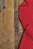 The background made from tablecloth on old  table Royalty Free Stock Photo