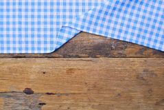 The background made from tablecloth on old  table Royalty Free Stock Image