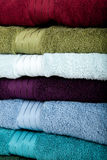 A background made up  of assorted towels Stock Photos