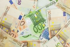 Background made with valid euro banknotes. Stock Photography