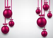 Background with magenta christmas balls. Stock Image