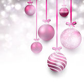 Background with magenta christmas balls. Stock Images