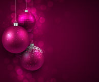 Background with magenta christmas balls. Royalty Free Stock Photos