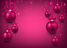 Background with magenta christmas balls. Royalty Free Stock Photo