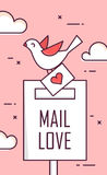 Background with mail love, dove and envelope. Thin line flat design greeting card. Vector.  Royalty Free Stock Photography