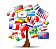 Background with the main tree and flags Stock Photos