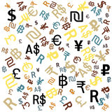 Background of the major world currencies, vector. Stock Photos
