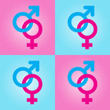Background with male and female symbols Stock Photos