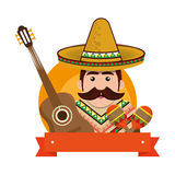 Background man with moustache and mexican elements Royalty Free Stock Photos