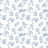 Background with man and woman working on mobile wireless laptop. Seamless pattern with people with pc in action. Vector illustration in sketchy doodle style stock illustration