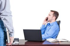 Background with manager in the office, on the top floor building, Stock Photography