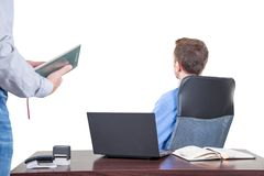 Background with manager in the office, on the top floor building, Stock Photos