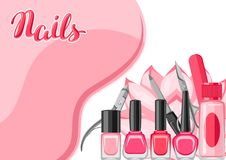 Background with manicure tools. Nail polishes and professional equipment for manicure salons Royalty Free Illustration