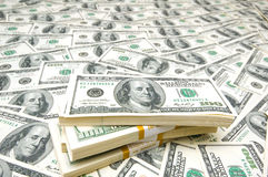 Background with many american hundred dollar. Bills Royalty Free Stock Photography