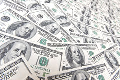 Background with many american hundred dollar bills Royalty Free Stock Images