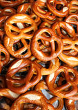 Background many baked pretzels for sale in market Stock Photography