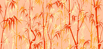 Background with many bamboo in asian style. Horizontal vector background with many bamboos tree in asian style in color Stock Images