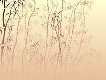 Background with many bamboo from mist. Horizontal vector background with many bamboo trees from mist in asian style Royalty Free Stock Photos
