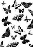 Background with many black butterflies Royalty Free Stock Photo