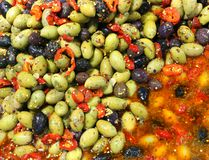 Background of many black and green olives royalty free stock photo