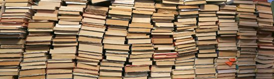 Background of many books of many sizes  for sale. In the library Stock Images